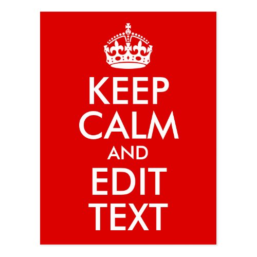 Classic Red Keep Calm and Edit Text Postcard