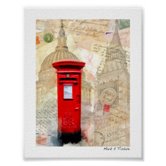 Classic Red London Postbox - Mini Poster