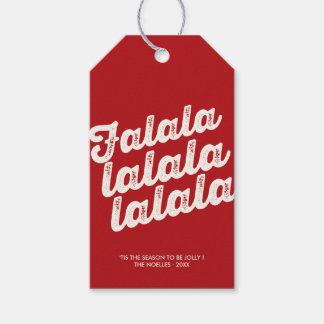 Classic Red Modern Falalalala Fun Holiday Gift Tag