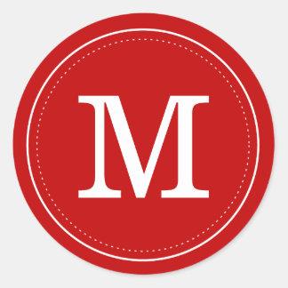 Classic Red Monogram Envelope Seal Classic Round Sticker