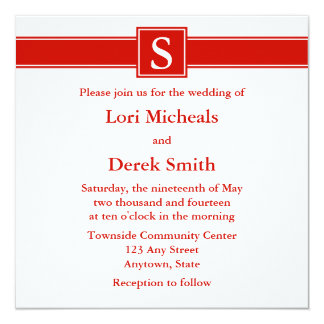 "Classic Red Monogrammed Wedding Announcements 5.25"" Square Invitation Card"