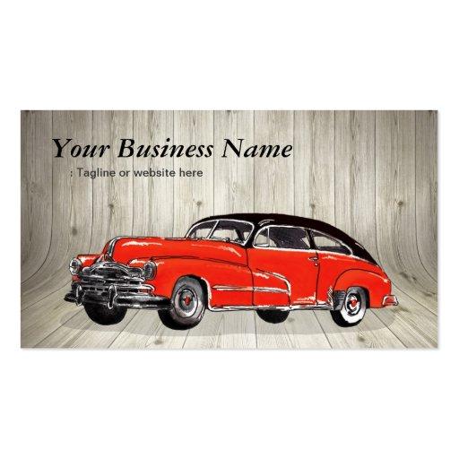 Classic Red Muscle Car - Unique Automotive Business Cards (front side)