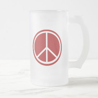 Classic Red Peace Sign Frosted Glass Beer Mug