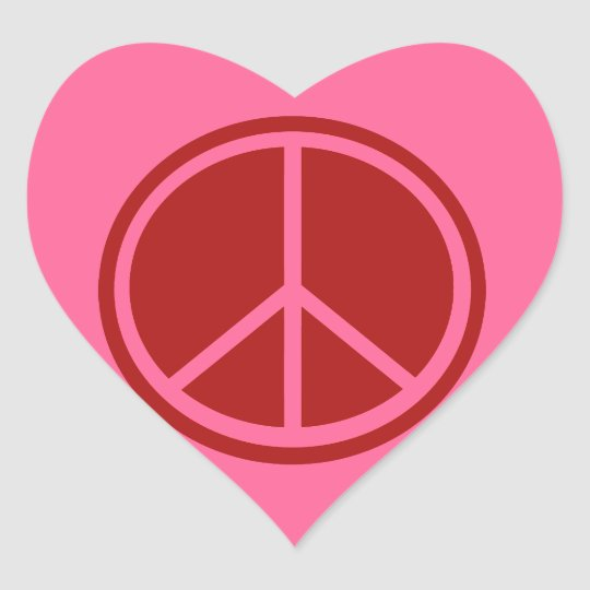 Classic Red Peace Sign Heart Sticker