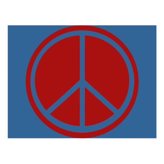 Classic Red Peace Sign Postcard