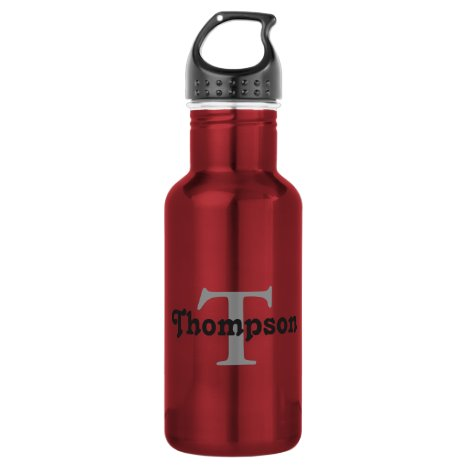 Classic Red Personalize Black Monogram Name Text Water Bottle