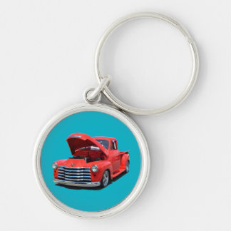 Classic Red Pickup Truck Silver-Colored Round Keychain