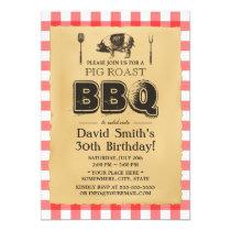 Classic Red Plaid Pig Roast BBQ Birthday Party Card