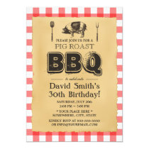Classic Red Plaid Pig Roast BBQ Birthday Party Invitation