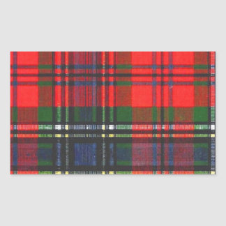 Classic Red Plaid Rectangular Sticker