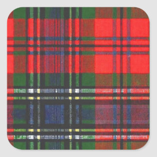 Classic Red Plaid Square Sticker