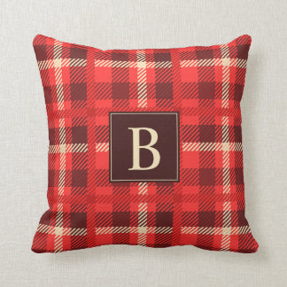 Classic Red Plaid with Any Monogram Throw Pillow