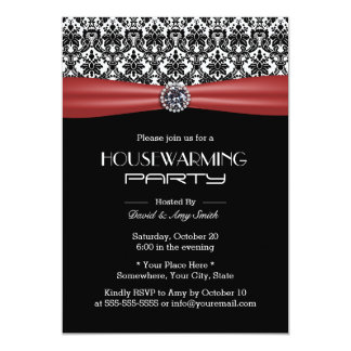 Classic Red Ribbon & Damask Housewarming Party Card