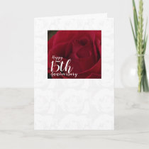 Classic Red Rose 15th Wedding Anniversary Card