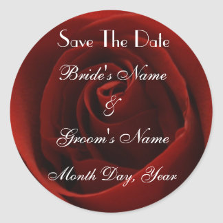 Classic Red Rose Save the Date Sticker
