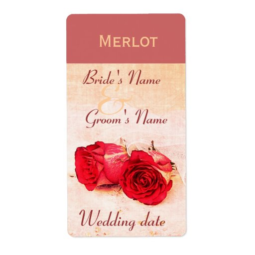 Classic red roses wedding wine bottle lable label