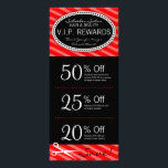 """Classic Red Salon Coupons Rack Card<br><div class=""""desc"""">This red &amp; black rack card features 3 Coupons on the front and salon info on the back, including a list of services. All info can be edited to suit your business needs, including Coupon amounts and details. Perfectly personalized promotional materials for hairdressers, hair salons, spas and other companies in...</div>"""