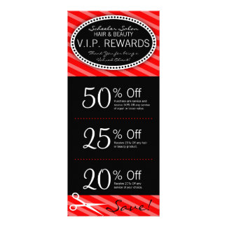 Classic Red Salon Coupons Rack Card