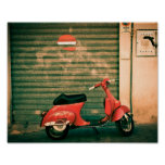 Classic red scooter in Italy Print