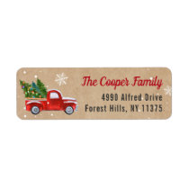 Classic Red Truck Christmas Tree Snowflakes Kraft Label