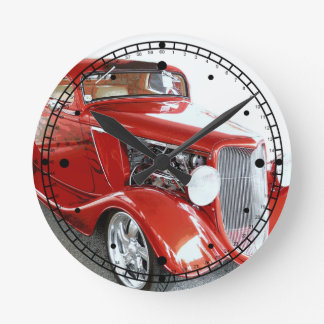 Classic Red Vintage Car on Show Round Clock