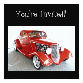 Classic Red Vintage Car -  You're Invited! Personalized Announcement