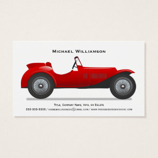 Classic Red Vintage Race Car Simple Professional Business Card