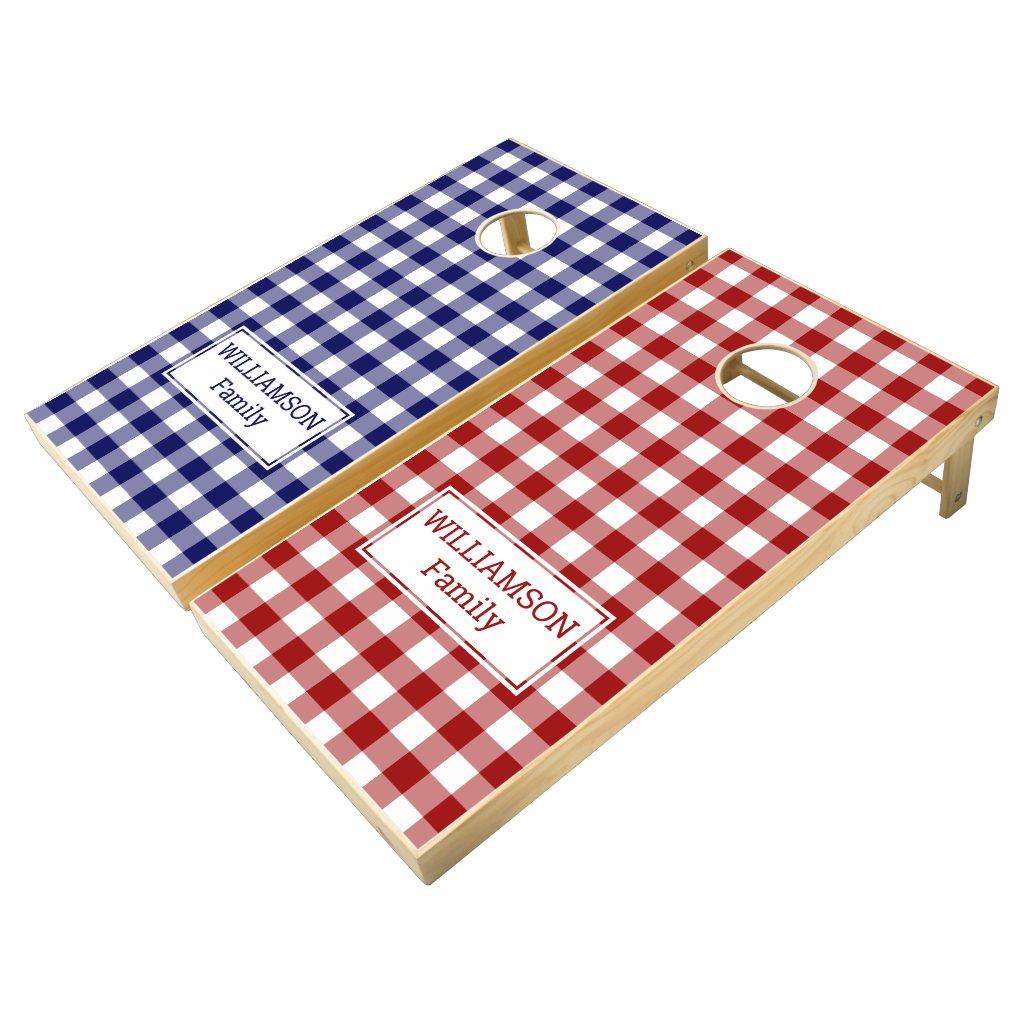 Classic Red White Blue Buffalo Check Family Name Cornhole Set