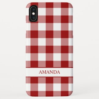 Classic Red White Buffalo Plaid with Your Name iPhone XS Max Case