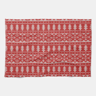 Classic Red White Christmas Jumper Pattern Towel