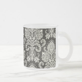 Classic Red White Damask Pattern 10 Oz Frosted Glass Coffee Mug