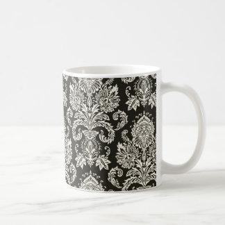 Classic Red White Damask Pattern Classic White Coffee Mug