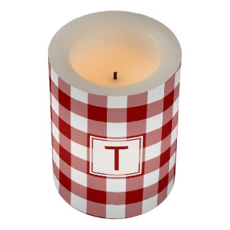 Classic Red White Gingham Pattern with Monogram Flameless Candle