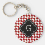 Classic Red White Houndstooth With Monogram Key Chain