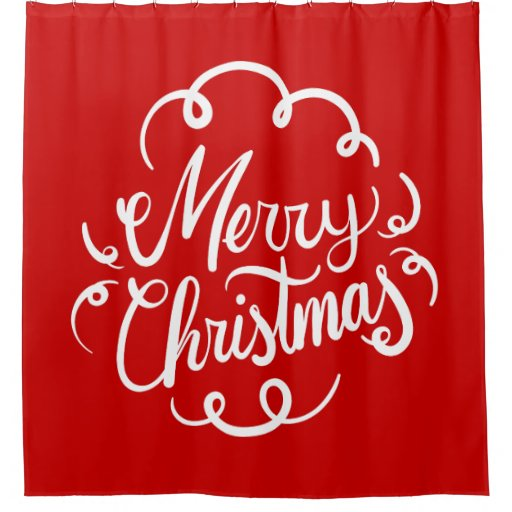 Christmas Shower Curtains-Classic Red White Merry Christmas Typography Shower Curtain