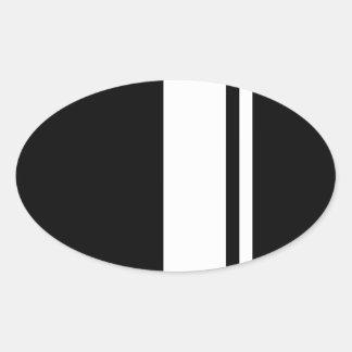 Classic Retro Black & White Race Car Stripes Oval Sticker