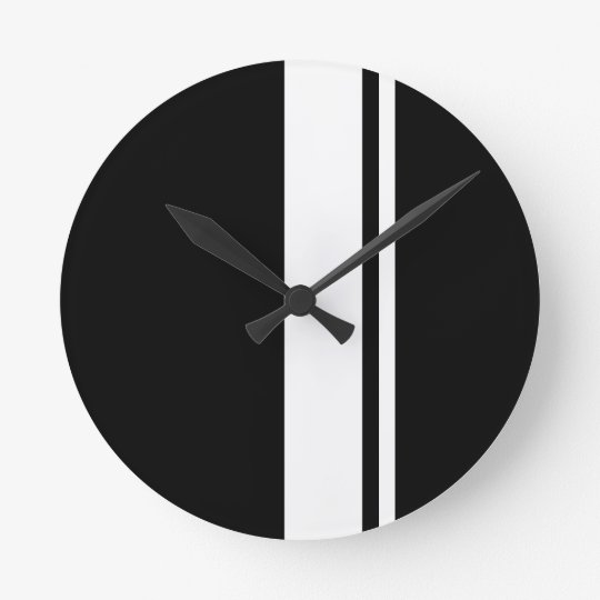 Classic Retro Black & White Race Car Stripes Round Clock