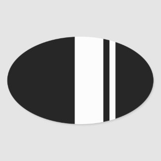 Classic Retro Black White Race Car Stripes Oval Stickers