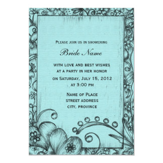 Classic,  retro blue and black floral bridal showe card