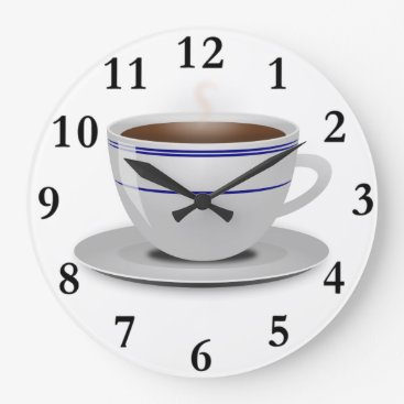 Coffee Themed Classic Retro Cafe Coffee Cup White Blue Stripes Large Clock