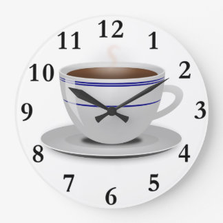 Classic Retro Cafe Coffee Cup White Blue Stripes Wallclocks