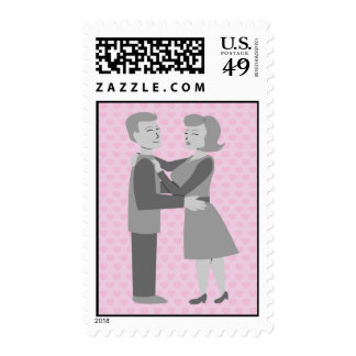Classic Retro Embrace Postage Stamps