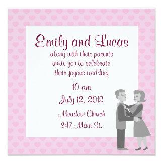 """Classic Retro Embrace Wedding Invitations 5.25"""" Square Invitation Card"""