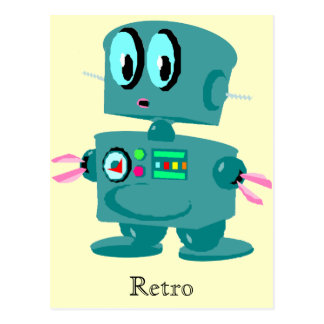 Classic retro green robot postcard