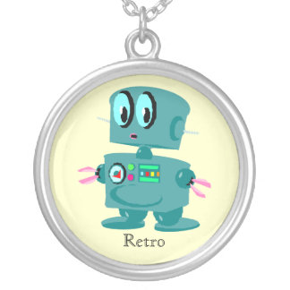 Classic retro green robot silver plated necklace