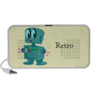 Classic retro green robot travelling speakers