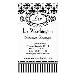 Classic Retro Pink and Black Paris Chic Business Card