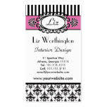 Classic Retro Pink and Black Paris Chic Double-Sided Standard Business Cards (Pack Of 100)