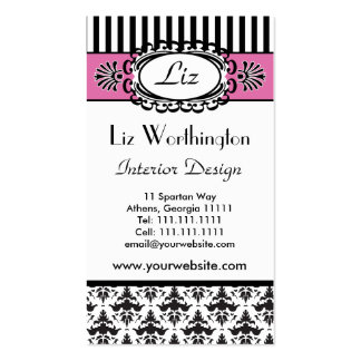 Classic Retro Pink and Black Paris Chic Business Card Template