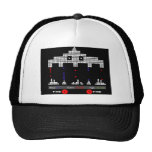 Classic Retro Video Game With Aliens Attacking Mesh Hat